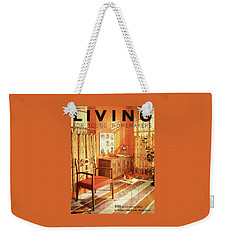 A Living Room With Furniture By Mt Airy Chair Weekender Tote Bag