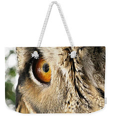 Weekender Tote Bag featuring the photograph Bubo Bubo- Eurasian Eagle Owl. Close Up. by Ausra Huntington nee Paulauskaite