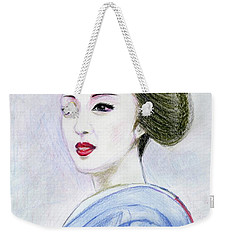 Weekender Tote Bag featuring the drawing A Maiko  Girl by Yoshiko Mishina