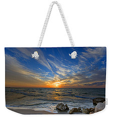A Majestic Sunset At The Port Weekender Tote Bag by Ron Shoshani
