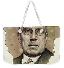 Weekender Tote Bag featuring the painting A Man Who Used To Be A Big Cheese by James W Johnson