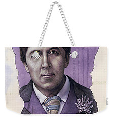 Weekender Tote Bag featuring the painting A Man Who Used To Be A Warrior by James W Johnson