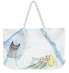 Weekender Tote Bag featuring the drawing A Mermaids Moment by Kim Pate