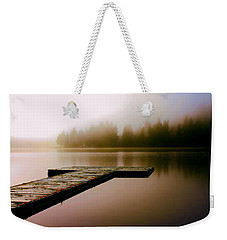 Weekender Tote Bag featuring the photograph A Misty Morning On The Lake by Peggy Collins