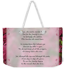 A Mother's Love  8x10 Format Weekender Tote Bag by Debbie Portwood