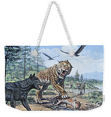 A Pack Of Canis Dirus Wolves Approach Weekender Tote Bag