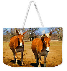 A Pair Of Mules  Digital Paint Weekender Tote Bag by Debbie Portwood