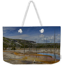 A Panoramic View Of  A Yellowstone Geyser Basin Weekender Tote Bag