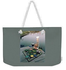 A Picnic Set Up On A Dock Weekender Tote Bag