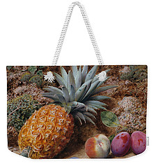 A Pineapple A Peach And Plums On A Mossy Bank Weekender Tote Bag by John Sherrin