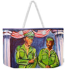 Weekender Tote Bag featuring the painting Daddy Soldier by Ecinja Art Works