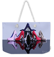 Weekender Tote Bag featuring the photograph A Pyramid Of Shoes by Terri Waters