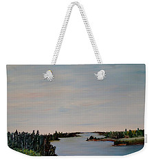 Weekender Tote Bag featuring the painting A River Shoreline by Marilyn  McNish