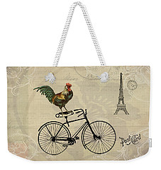 Weekender Tote Bag featuring the digital art A Rooster In Paris by Peggy Collins