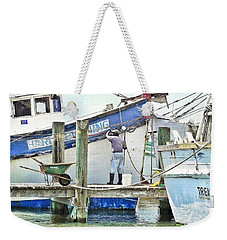 A Shrimper's Work Is Never Done Weekender Tote Bag