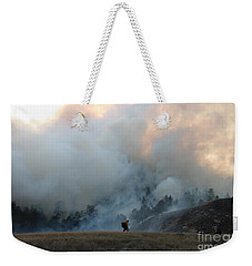 A Solitary Firefighter On The White Draw Fire Weekender Tote Bag