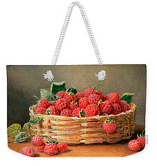 A Still Life Of Raspberries In A Wicker Basket  Weekender Tote Bag by William B Hough