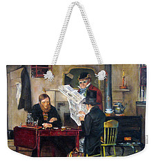 Weekender Tote Bag featuring the painting A Study Of Waiting For The Stage by Donna Tucker