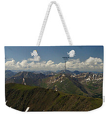 A Summit View Panorama Text Weekender Tote Bag by Jeremy Rhoades