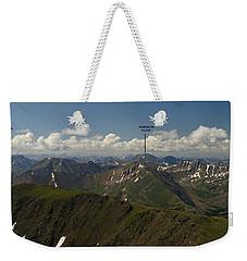 A Summit View Panorama With Peak Labels Weekender Tote Bag