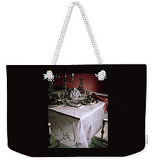 A Table Set With Delicate Tableware Weekender Tote Bag
