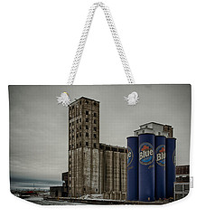 A Tall Blue Six-pack Weekender Tote Bag by Guy Whiteley