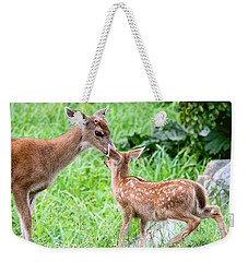Weekender Tote Bag featuring the photograph A Tender Moment by Peggy Collins