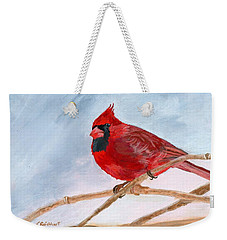 Weekender Tote Bag featuring the painting A Touch Of Red by Lynne Reichhart