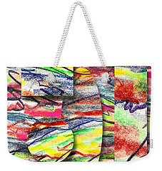 Weekender Tote Bag featuring the drawing A Walk In The Park  by Peter Piatt