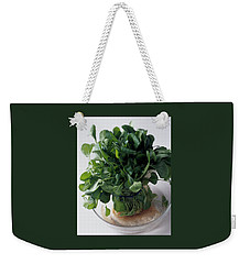 A Watercress Plant In A Bowl Of Water Weekender Tote Bag