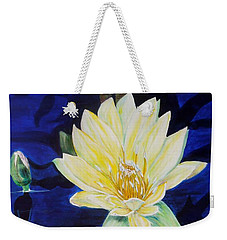 Weekender Tote Bag featuring the painting A Waterlily by Marilyn  McNish