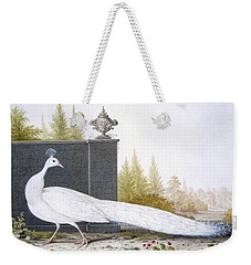 A White Peahen Weekender Tote Bag