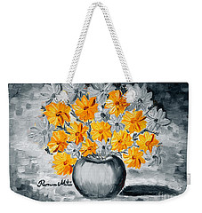 Weekender Tote Bag featuring the painting A Whole Bunch Of Daisies Selective Color I by Ramona Matei