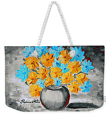Weekender Tote Bag featuring the painting A Whole Bunch Of Daisies Selective Color II by Ramona Matei