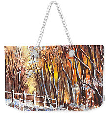 A Firey Winter Sunset Weekender Tote Bag