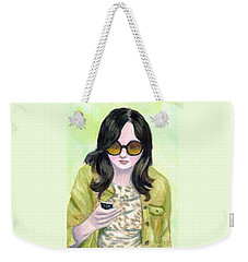 Weekender Tote Bag featuring the painting A Woman Reading Text On Cell Phone by Jingfen Hwu