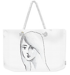 Weekender Tote Bag featuring the drawing A Woman With Long Hair by Jingfen Hwu