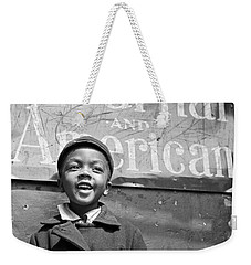 A Young Harlem Newsboy Weekender Tote Bag by Underwood Archives