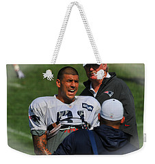 Weekender Tote Bag featuring the photograph Aaron Hernandez With Patriots Coaches by Mike Martin