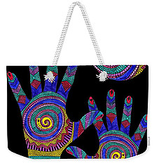 Aboriginal Hands To The Sun Weekender Tote Bag by Barbara St Jean