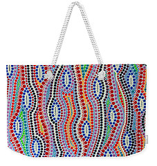 Weekender Tote Bag featuring the painting Aboriginal Inspirations 2 by Mariusz Czajkowski