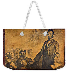 Abraham Lincoln The Gettysburg Address Weekender Tote Bag by Saundra Myles