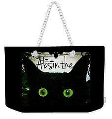 Weekender Tote Bag featuring the digital art Absinthe Black Cat by Absinthe Art By Michelle LeAnn Scott