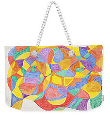 Weekender Tote Bag featuring the painting Faces And Places by Stormm Bradshaw