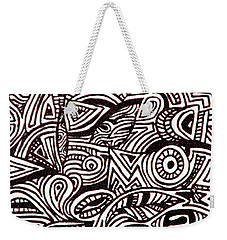 Abstract Black And White Ink Line Drawing Weekender Tote Bag by Jean Haynes
