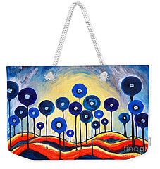 Weekender Tote Bag featuring the painting Abstract Blue Symphony  by Ramona Matei