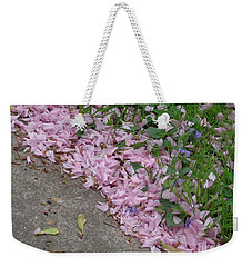 Weekender Tote Bag featuring the photograph Abstract Diagonal Pink Petals by Christina Verdgeline