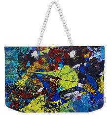 Weekender Tote Bag featuring the painting Abstract Fish  by Claire Bull