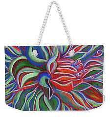 Weekender Tote Bag featuring the painting Abstract Flower by Janice Dunbar