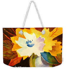 Weekender Tote Bag featuring the painting Abstract Flowers 2 by Marilyn Jacobson